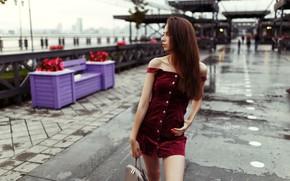 Картинка девушка, модель, макияж, фигура, стройная, платье, прическа, шатенка, сумка, стоит, красивая, в красном, набережная, позирует, …