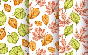 Картинка фон, текстура, листочки, autumn, pattern, Seamless