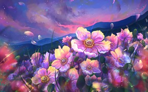 Картинка цветы, горы, лепестки