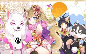 Картинка животные, девочки, аниме, арт, tera online