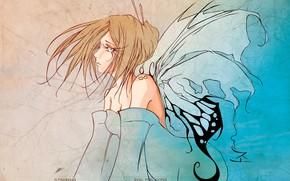 Картинка ресницы, фея, декольте, голубые глаза, плечи, крылья бабочки, девушка-бабочка