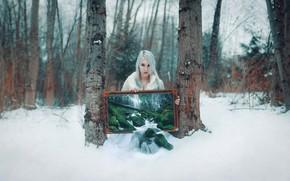 Картинка лес, девушка, стиль, водопад, картина, фэнтези, блондинка, образ, фотоарт, Kindra Nikole
