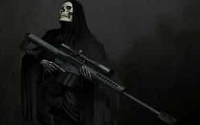Обои оружие, череп, фэнтези, арт, скелет, капюшон, прицел, снайперская винтовка