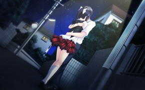 Картинка объятия, фонари, свидание, на улице, visual novel, звездное ночное небо, by Masato Satofuji, Anata no …