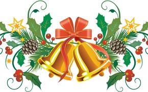 Картинка ветки, ягоды, Рождество, Новый год, колокольчики, хвоя, бантик, шишки