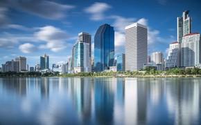 Картинка небо, город, река, здания, день, Таиланд, Тайланд, Бангкок