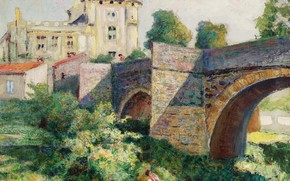 Картинка пейзаж, мост, картина, Виктор Шарретон, Victor Charreton, Церковь в Мюроле