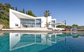 Картинка дизайн, пальмы, вилла, бассейн, архитектура, Contemporary House in Son Vida