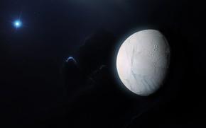 Картинка Звезды, Космос, Туманность, Fantasy, Арт, Stars, Space, Art, Спутник, Фантастика, Nebula, Enceladus, Satellite, Энцелад, StarkitecktDesigns, …