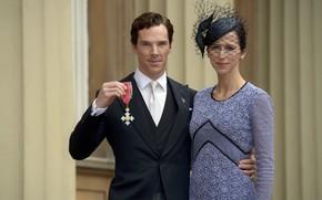 Картинка орден, Бенедикт Камбербэтч, Benedict Cumberbatch, супруги, церемония вручения, Софи Хантер, Кавалер ордена Британской империи