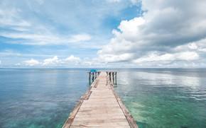 Картинка море, волны, пляж, лето, пирс, summer, beach, sea, blue, seascape, wave