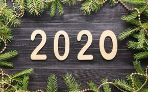 Картинка Новый Год, Рождество, christmas, new year, wood, merry, decoration, fir tree, 2020, ветки ели