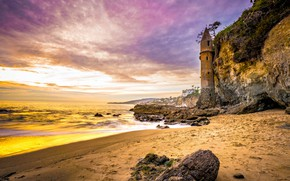 Картинка пляж, пейзаж, закат, природа, камни, океан, скалы, берег, маяк, Калифорния, США, Victoria Beach
