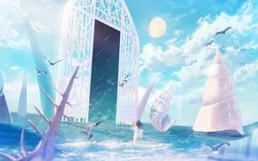 Картинка море, девушка, космос, луна, чайки, портал