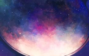 Картинка небо, космос, иллюминатор