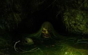 Картинка болото, арт, кикимора, фЭнтези, Daniel Jiménez Villalba, Jenny Greenteeth
