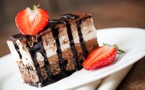 Картинка шоколад, клубника, торт, десерт, сладкое