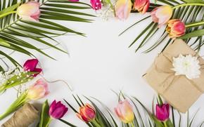 Картинка цветы, colorful, тюльпаны, розовые, wood, pink, flowers, tulips, spring, purple, gift box, mother's day