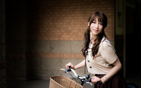 Картинка взгляд, девушка, велосипед, волосы, азиатка, боке