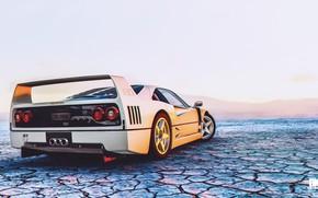 Картинка Авто, Игра, Белый, Машина, Ferrari, F40, Рендеринг, Спорткар, The Crew, Ferrari F 40, Ferrari F-40, …