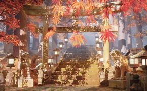 Картинка осень, деревья, природа, храм