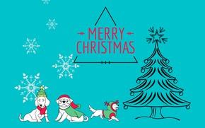 Картинка собаки, шарики, снежинки, праздник, надпись, рисунок, графика, звезда, вектор, Рождество, Новый год, ёлка, белые, ёлочка, …