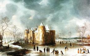 Картинка пейзаж, картина, Ян Авраам Беерстратен, Замок Мейден Зимой, Jan Abrahamsz van Beerstraten
