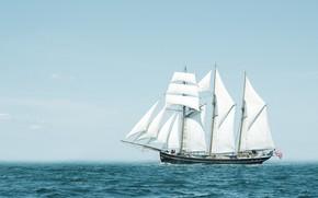 Картинка путь, океан, ветер, корабль, парусник