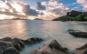 Картинка пляж, пейзаж, закат, Море
