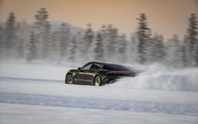 Картинка зима, снег, чёрный, Porsche, трек, 2020, Taycan, Taycan 4S