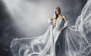 Картинка девушка, поза, стиль, фон, платье, блондинка, украшение