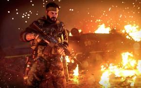 Картинка оружие, пожар, огонь, солдат, автомат, боец, activision, treyarch, call of duty black ops cold war, …