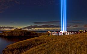 Обои Исландия, Рейкьявик, Imagine Peace Tower, Международный день мира