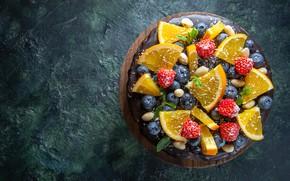 Картинка ягоды, фон, апельсины, клубника, торт, дольки, голубика