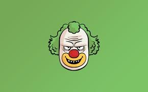 Картинка minimalism, face, fear, digital art, artwork, Clown, simple background, teeth, green background