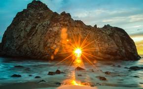 Картинка пляж, солнце, лучи, пейзаж, природа, океан, скалы, Калифорния, США, боке, Пфайффер Бич, Pfeiffer Beach, Биг-Сюр