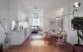 Картинка интерьер, кухня, спальня, столовая, minimalist penthouse apartment, Studio In Stockholm
