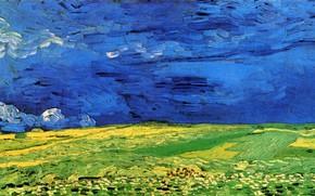 Картинка Винсент ван Гог, Wheat Field Under, Clouded Sky