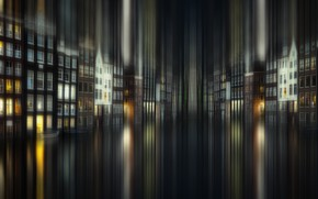 Картинка свет, ночь, город, дома, выдержка, Амстердам, канал