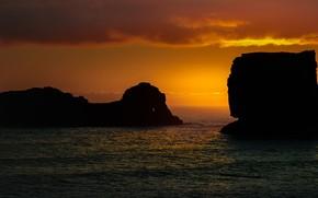 Картинка море, небо, закат, скалы, горизонт, силуэты, Исландия, Dyrholaey