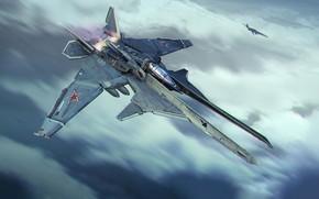 Картинка Небо, Будущее, Самолет, Полет, Истребитель, Россия, Арт, Art, Фантастика, Jet, Concept Art, Транспорт, Два, Реактивный …