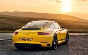 Обои 911, Porsche, вид сзади, Coupe, 2018, Carrera T