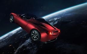 Картинка Авто, Планета, Космос, Машина, Свет, Земля, Light, Арт, Space, Art, Earth, Спутник, Auto, Planet, Tesla, …