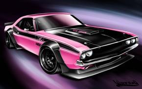 Картинка Авто, Рисунок, Машина, Dodge, Challenger, Арт, Dodge Challenger, 1970, Vehicles, Transport, Transport & Vehicles, Andreas ...