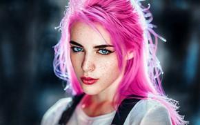 Обои модель, Sara, Gustavo Terzaghi, боке, макияж, прическа, веснушки, взгляд, портрет