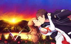 Картинка поцелуй, аниме, арт, парень, Мастера меча онлайн, Sword Art Online, Асуна, Кирито