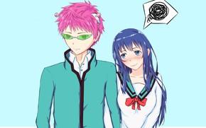 Картинка девушка, парень, двое, Saiki Kusuo no Psi Nan, Сайки Кусуо, Несладкая жизнь псионика Сайки Кусуо