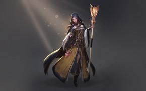 Картинка Girl, Fantasy, Art, Style, Lights, Characters, Sorceress, Cleric, Staff, Heewon Kang