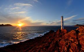 Картинка море, солнце, пейзаж, закат, природа, скалы, маяк, Испания, Галисия