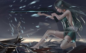 Картинка девушка, оружие, ружьё